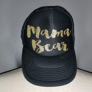 Black and gold mama bear trucker hat